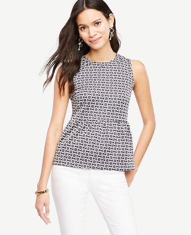 Image of Daisy Jacquard Peplum Top