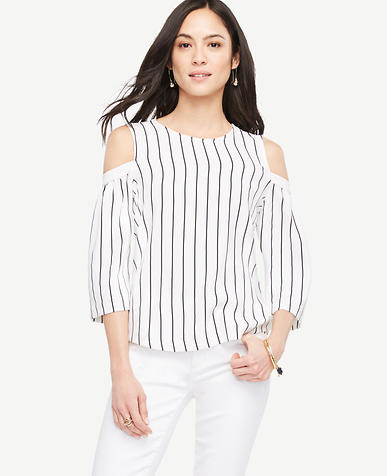 Image of Striped Cold Shoulder Bell Sleeve Top