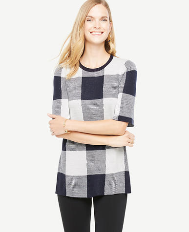 Image of Gingham Tunic Sweater