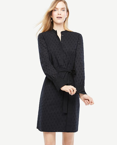 Image of Embroidered Cotton Shirt Dress
