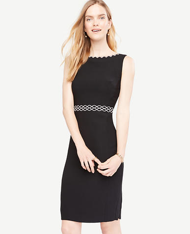 Image of Petite Scallop Trim Sheath Dress
