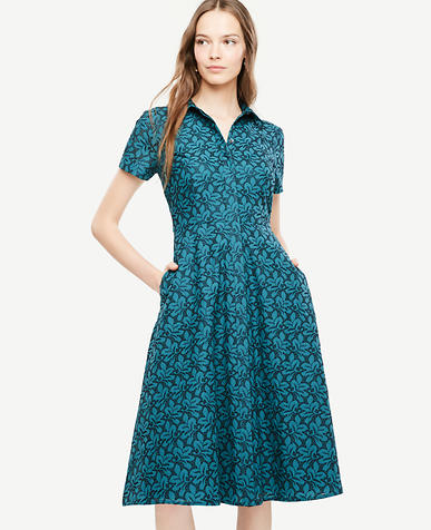 Image of Tall Floral Eyelet Flare Shirt Dress