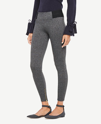 Marled Knit Ankle Zip Leggings