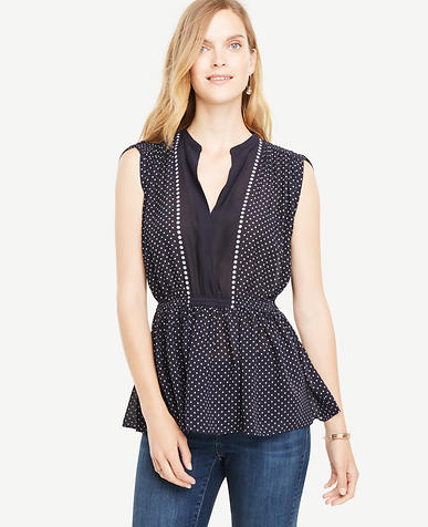 Image of Shirred Waist Dotted Top