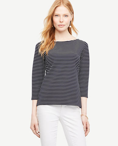 Image of Striped Boatneck Top