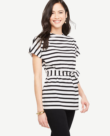 Image of Striped Tie Waist Tunic Tee