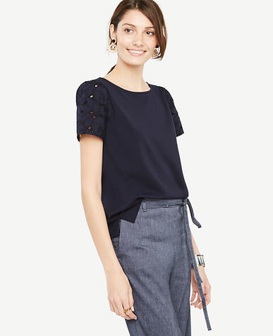 Image of Lace Puff Sleeve Tee