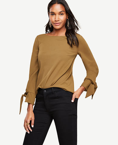 Image of Petite Tie Sleeve Top