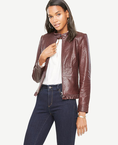 Ruffle Leather Moto Jacket