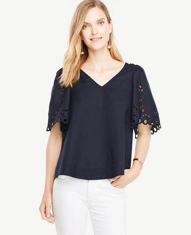 Image of Embroidered Sleeve Top