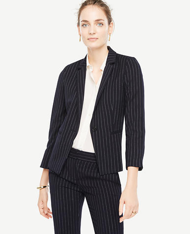 Pinstripe One Button Blazer