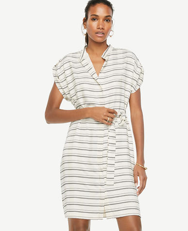 Image of Stripe Short Sleeve Belted Shirtdress