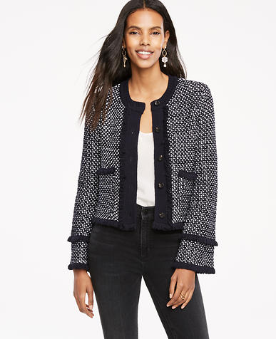 Image of Textured Fringe Sweater Jacket
