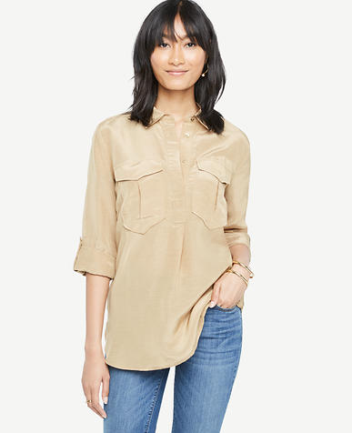 Image of Petite Shimmer Safari Button Down Shirt