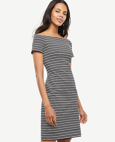 Image of Stripe Off The Shoulder Shift Dress
