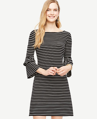 Image of Striped Ponte Flare Sleeve Dress