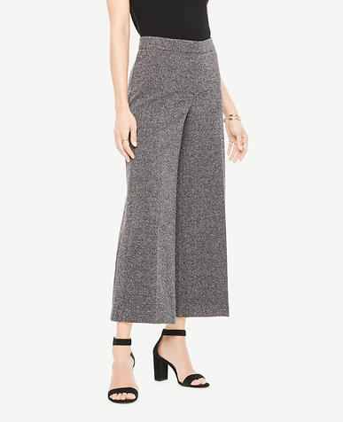 Image of Marled Knit Wide Leg Crop Pants