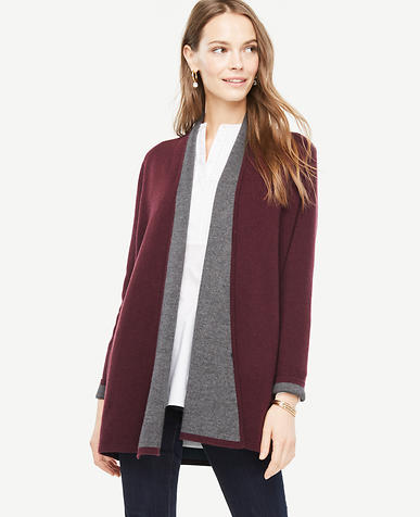 Wool Cashmere Shawl Collar Coatigan