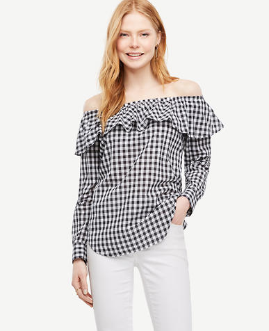Image of Gingham Off The Shoulder Blouse