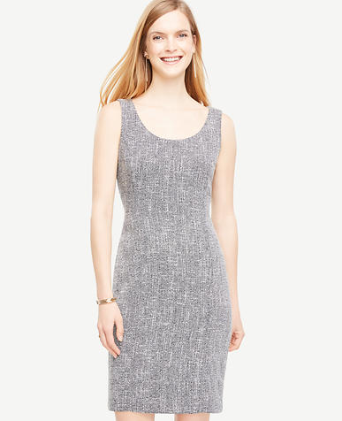 Image of Tweed Scoop Neck Sheath Dress