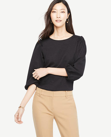 Image of Puff Sleeve Knit Top