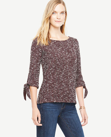 Image of Tie Sleeve Knit Tweed Top