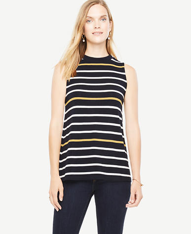 Image of Striped Sleeveless Mock Neck Top