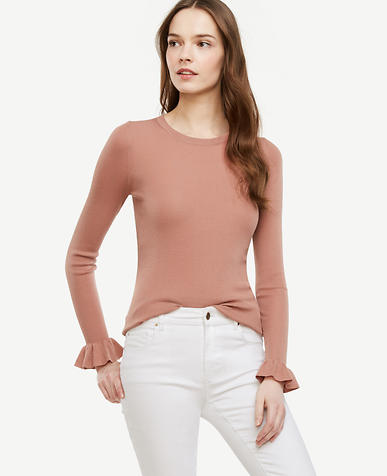 Image of Ribbed Ruffle Cuff Sweater