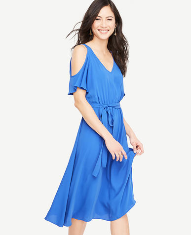 Image of Cold Shoulder Belted Dress