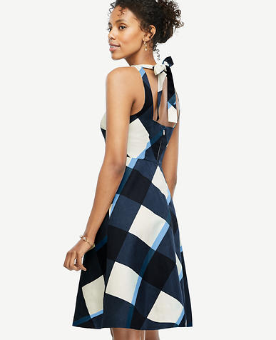 Image of Petite Gingham Tie Back Flare Dress