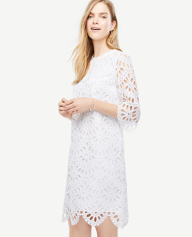 Image of Petite Scallop Eyelet Shift Dress