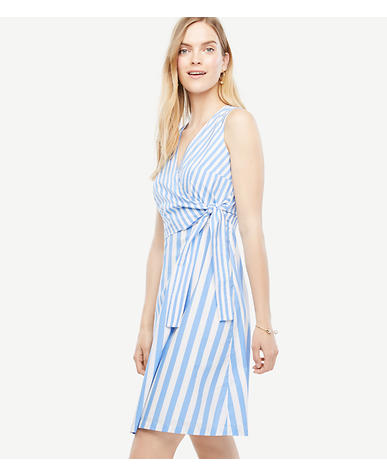 Image of Petite Striped Poplin Flare Dress