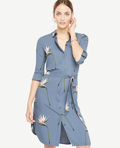 Image of Tropical Shirt Dress