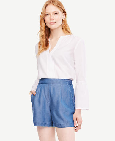 Image of Petite Chambray Drapey Shorts