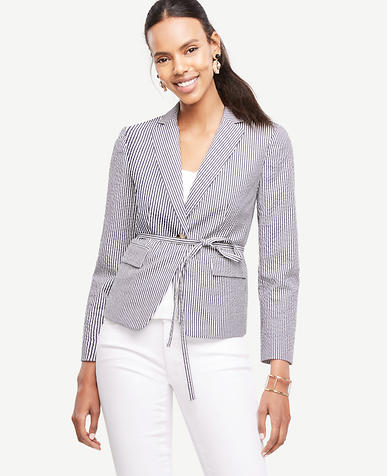 Image of Petite Seersucker Side Tie Blazer