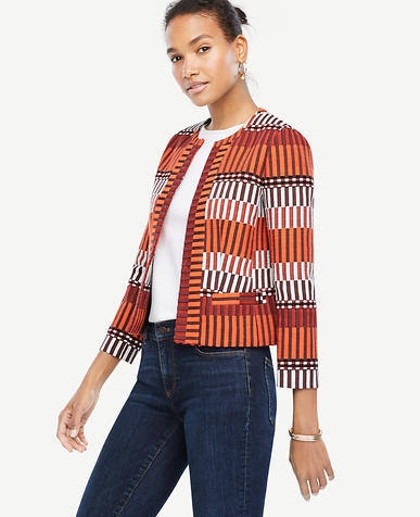 Image of Petite Mixed Stripe Tapestry Jacket