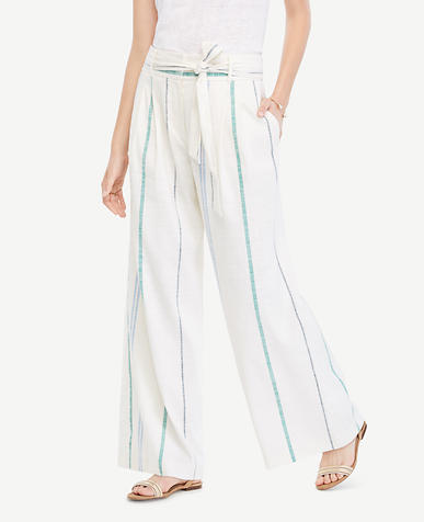 Image of The Petite Striped Tie Waist Wide Leg Pant