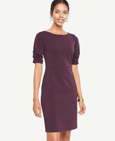 Ruched Sleeve Sheath Dress