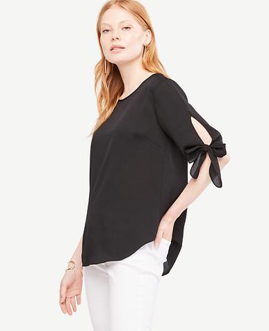 Image of Petite Tie Sleeve Blouse