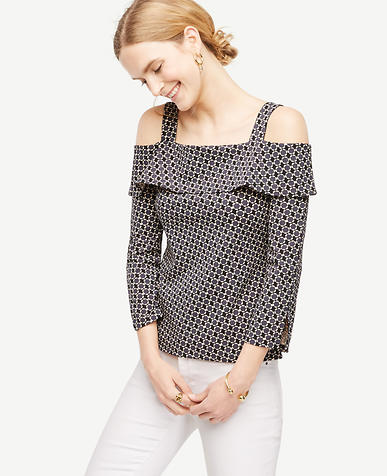 Image of Petite Daisy Jacquard Strappy Off The Shoulder Top