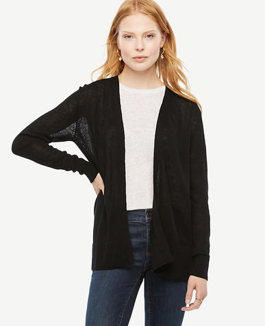 Image of Linen Blend Open Cardigan