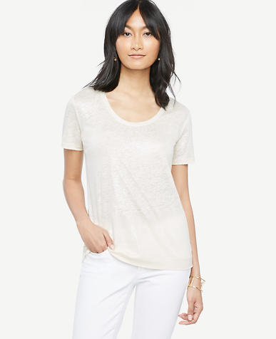Image of Scoop Neck Linen Sunday Tee - In Shimmer