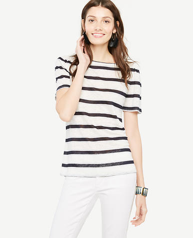 Image of Puff-Sleeve Linen Sunday Tee - In Stripe