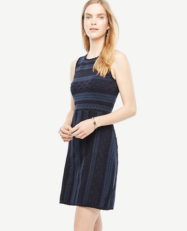 Image of Petite Texture Stitch Flare Dress