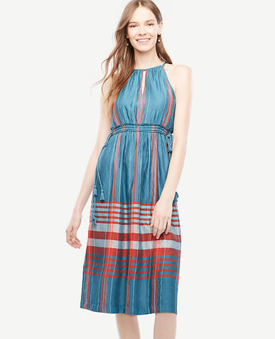 Image of Petite Plaid Halter Dress