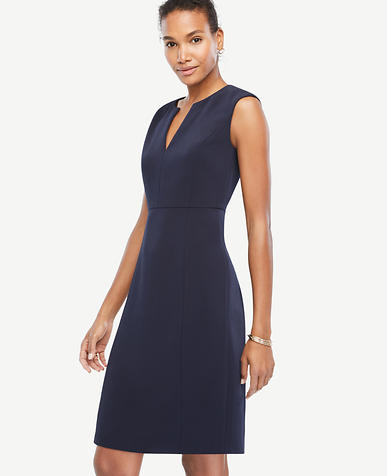 Image of Petite Cap Sleeve Split Neck Sheath Dress