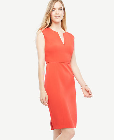 Image of Tall Cap Sleeve Split Neck Sheath Dress