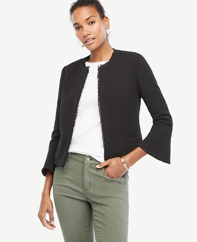 Image of Textured Tweed Fluted Sleeve Jacket