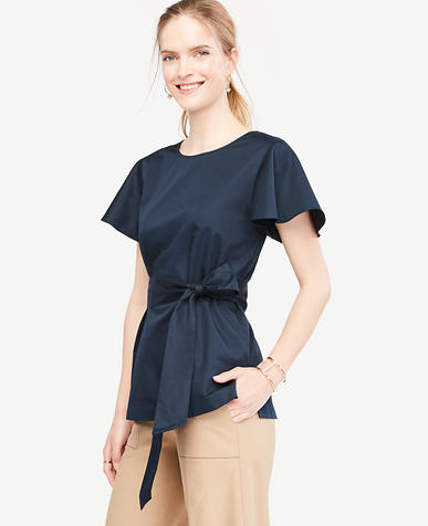 Image of Tall Cinch-Waist Flutter Sleeve Poplin Top