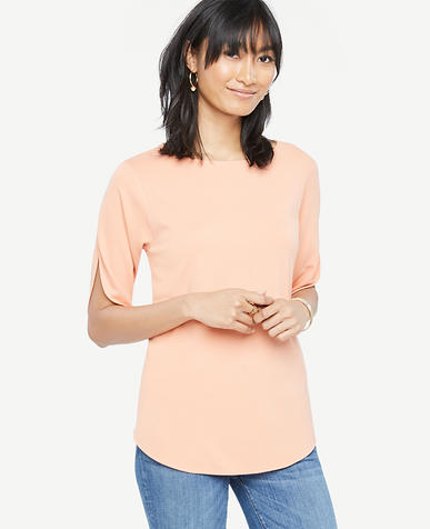 Image of Petite Easy Slit Sleeve Tee